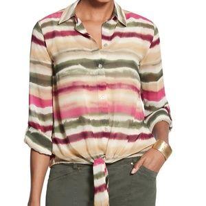 Chico's Watercolor Stripe Eliot Top Size 3